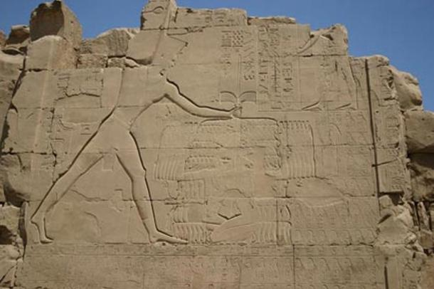 Thutmose III smiting his enemies. Relief on the seventh pylon in Karnak.