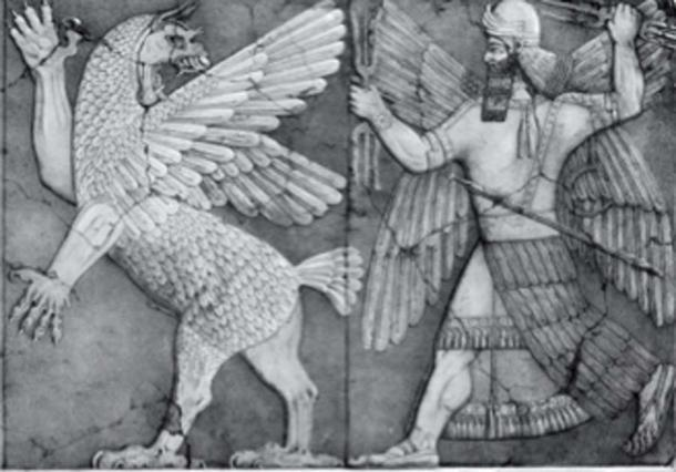 Tiamat and Marduk from an Assyrian bas-relief at Nimrud. (Georgelazenby / Public Domain)