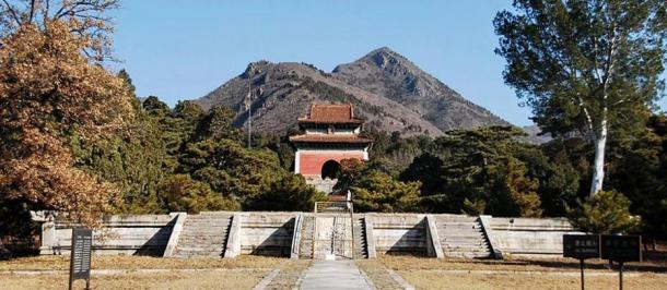 Tianshou Mountain stands behind the Thirteen Tombs of the Ming Dynasty.