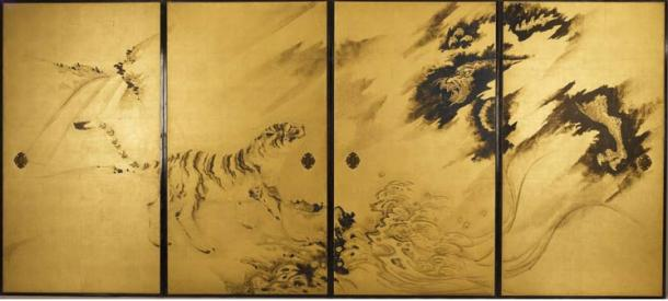 """Tigers and Dragon"" by Kishi Ganku, founder of the Kishi school of late Edo period (18th-century)."
