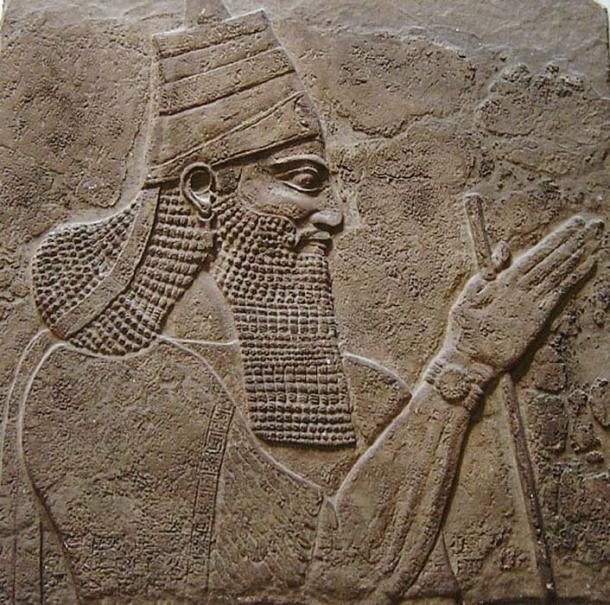 Tiglath-Pileser III: Detail from a stela from the walls of his palace.