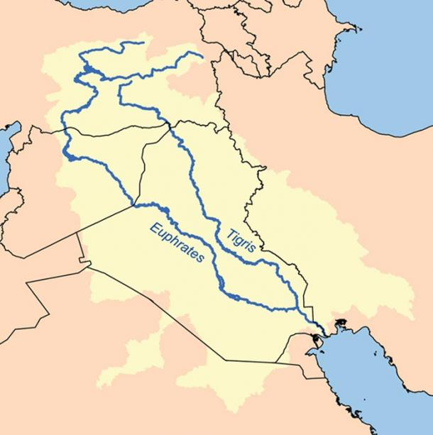 Map showing the Tigris–Euphrates river system, which defines Mesopotamia.