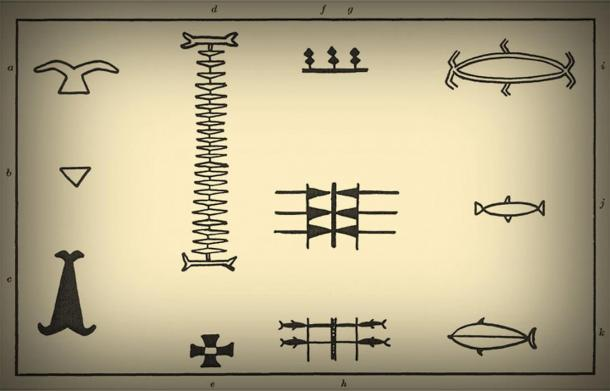Tikopian tattoo motifs from the Solomon islands, 1930: a) Frigate bird wings; b) triangle; c) pounder or coconut frond spathe; d) annelid; e) flower of the farakau tree; f, h) shark designs; g) tooth pattern; i) large fish pattern; j, k) small fish patterns.