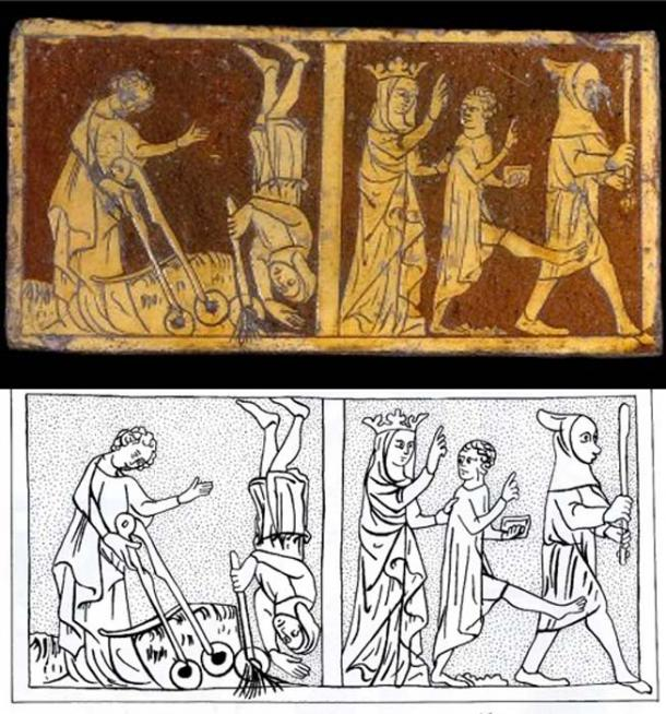 Tile and drawing of the same, depicting an event from Jesus' childhood. (CC BY NC SA 4.0)