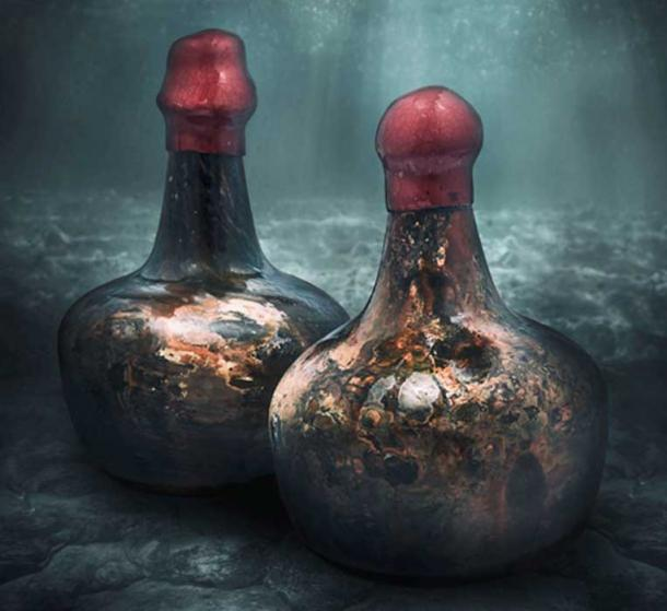 Time has marbled the bottles of the shipwreck wine to a shell-like sheen, and Christie's has sealed the tops with fresh red wax. (Christie's)
