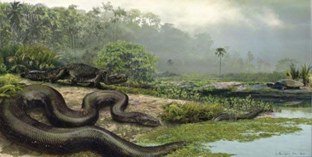 Titanoboa with a dyrosaur and a turtle. (Jason Bourque/University of Florida)