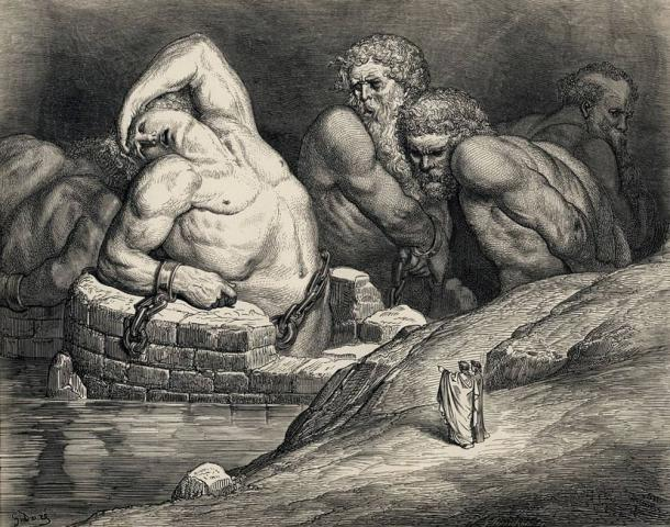 Titans and other giants are imprisoned in Hell in this illustration by Gustave Doré of Dante's Divine Comedy