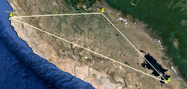Tiwanaku, Cuzco and Paracas, places associated with the knowledge of the gods, form an isosceles triangle.