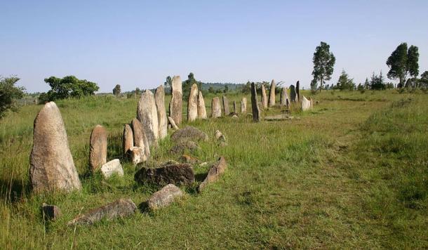 Las piedras Tiya colocan en una fila en un exuberante paisaje de la Zona Gurage de Etiopía