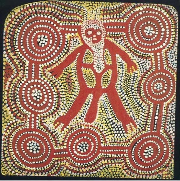 Tjungurrayi, Charlie Tjararu, (also known as 'Watama'), 1981, Pintupi language/cultural group, (c.1921-1999), Papunya NT, Untitled (painting of a Pangkarlangu, a Western Desert/Central Desert Bogeyman/Ogre figure) 336x356 mm (rounded corners), acrylic on canvas. Flinders University Art Museum Collection, Adelaide. (Image​© the artist's estate, licensed by Aboriginal Artists Agency Ltd)