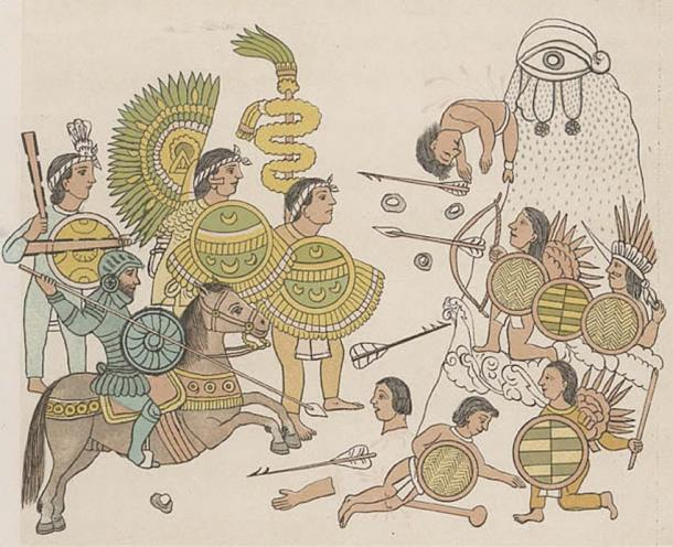 Tlaxcalan forces accompanied the Spaniards on post-conquest explorations of northern Mexico. Entrance into Guadalajara, Jalisco. The Tlaxcalans are carrying their traditional obsidian-tipped war clubs. (Public Domain)