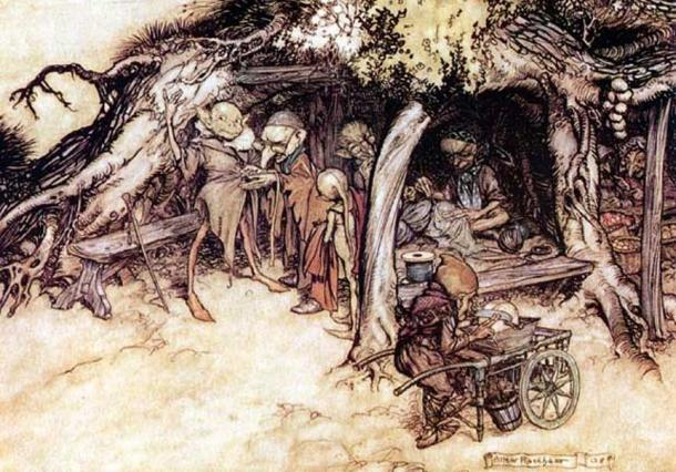 """To make my small elves coats."" Illustrations to Shakespeare's A Midsummer Night's Dream by Arthur Rackham"