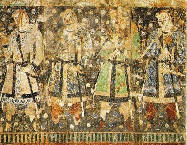 """Tocharian donors"", with light hair and light eye color, 7th century AD fresco, Qizil, Tarim Basin, Xinjiang, China."