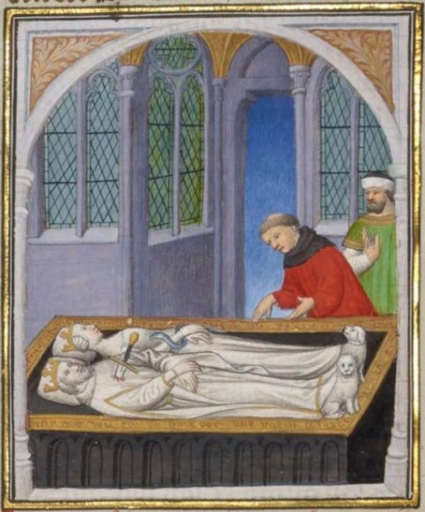 Tomb of Cleopatra and Mark Antony, illuminated manuscript of Boccaccio, miniature by the Boucicaut master, 1409 AD. (Public Domain)