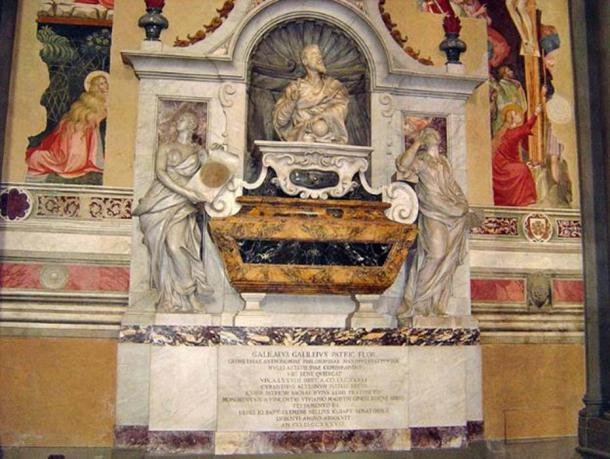 Tomb of Galileo Galilei in Santa Croce, Florence, Italy. Stephen Hawking was born on the same day Galileo died, 300 years later – a strange historical coincidence? (stanthejeep/CC BY SA 2.5)