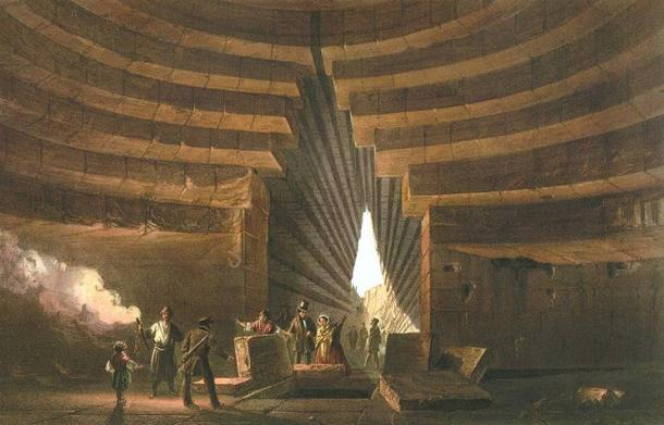 Detail. Painting, 1856, of one of the many kurgans, the 'Tomb of Mithridates' near Ketch.