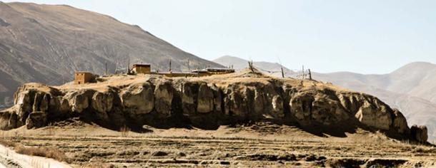 Tomb of Songtsen Tsampo with a small Nyingmapa Temple on top. Yarlung-Chongye Valley of Kings, Tibet 2011