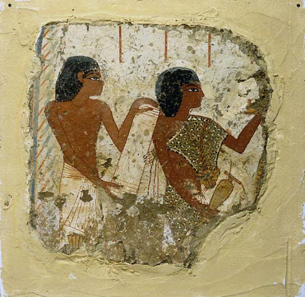 Tomb painting from the 14th century BC depicting two priests, one holding a papyrus roll and the other a vase for libations (liquid offerings).