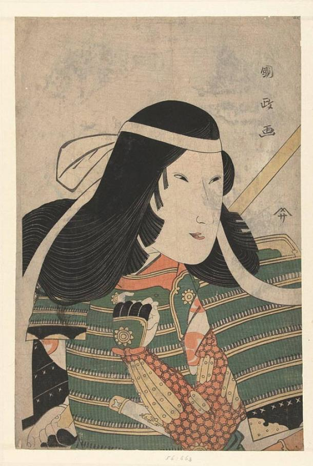 Tomoe was an attractive woman and fearless warrior and rider. Portrait by Utagawa Kunimasa, Japan 1797.