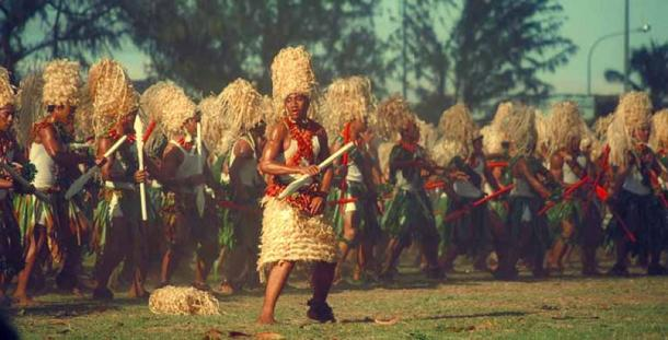 Tonga College students performing a Kailao dance in 1988. (Public Domain)