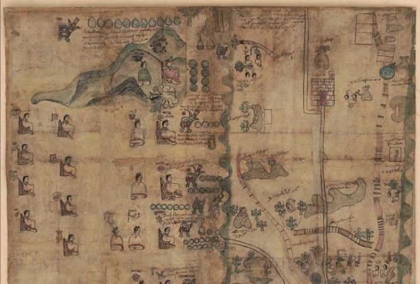 Top half of the Codex Quetzalecatzin Map. Retrieved from the Library of Congress.