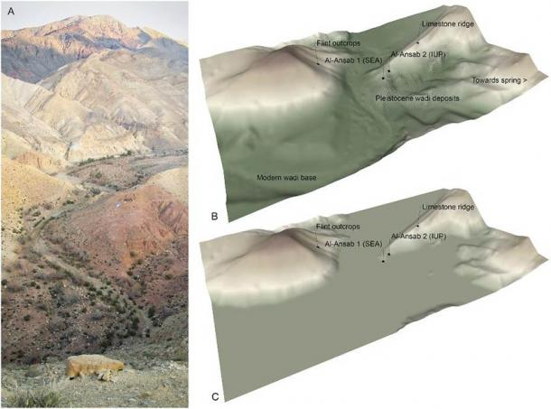 Topographic context of the Al-Ansab archaeological sites. (A) View of the Wadi Sabra from the South. Note the Al-Ansab 1 excavation site in the center of the photograph–(B) DTM elevation image of the Al-Ansab locality (South-to-North aspect)—(C) DTM elevation model of the topographic situation around 38,000 years ago, at the time of the Al-Ansab 1 settlement site located at the fringe of a wide river floodplain. (Richter et al, 2020/PLOS ONE)