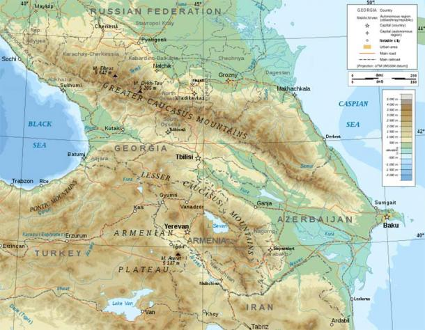 Topographic map of the Caucasus (Bourrichon/ CC BY-SA 4.0)