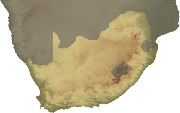 Topographical map of South Africa, continent version.