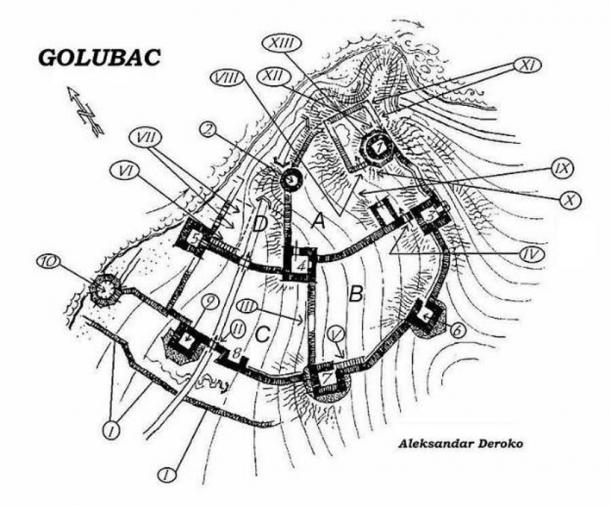 Topographical sketch of Golubac Fortress prior to 1972.
