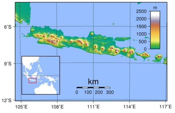 Topography of Java. Created with GMT from publicly released SRTM data.