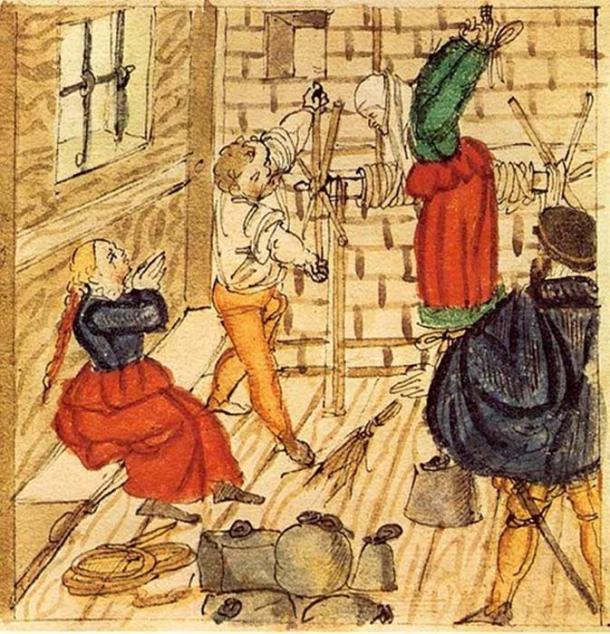 Torturing accused witches, 1577.