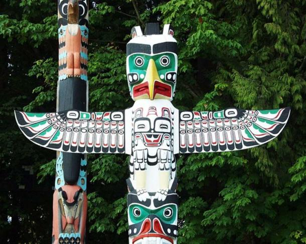 'Totem Pole' featuring various animal totems, Vancouver, British Columbia.