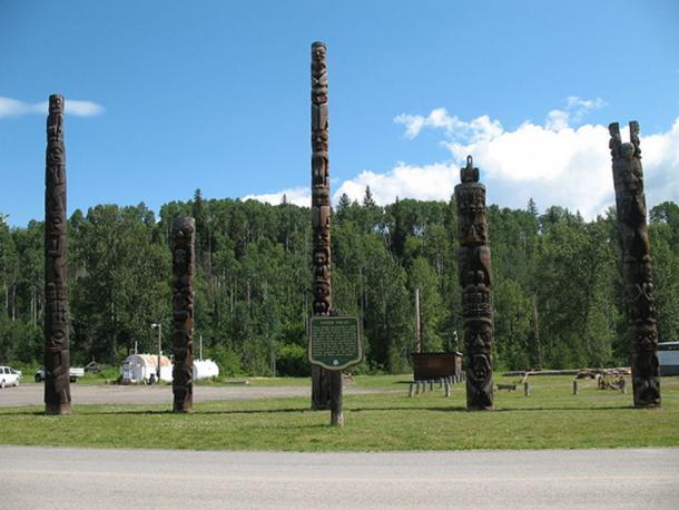 Totem poles in Kitwancool, British Columbia