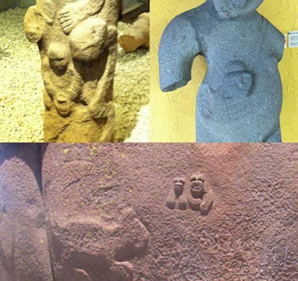 Top left: Totem statue from Gobekli Tepe. Top right: Statue at San Jose Museum, Costa Rica. Bottom: Culpa tower at Cutimbo, Peru.