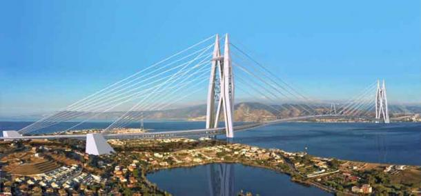 The two 400-meter towers would allow the bridge to span the 3200-meter Strait of Messina. (Saverio Adriano Marchisciana)