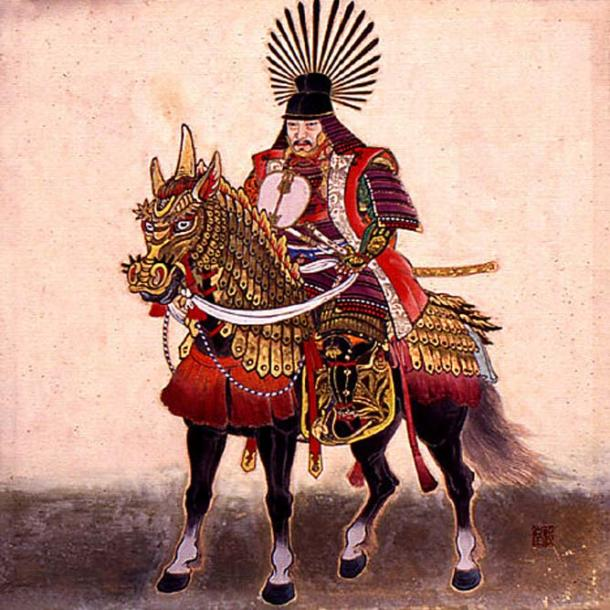 Toyotomi Hideyoshi on his horse. Note his unique helmet.