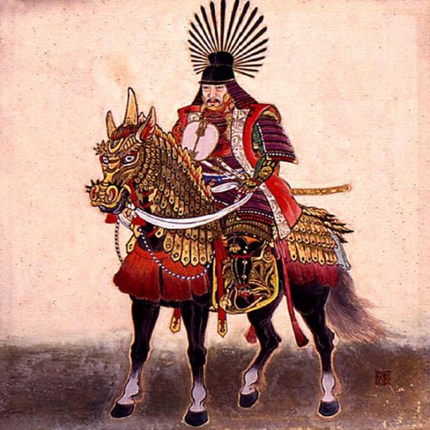 Toyotomi Hideyoshi on his horse. Note his unique helmet.