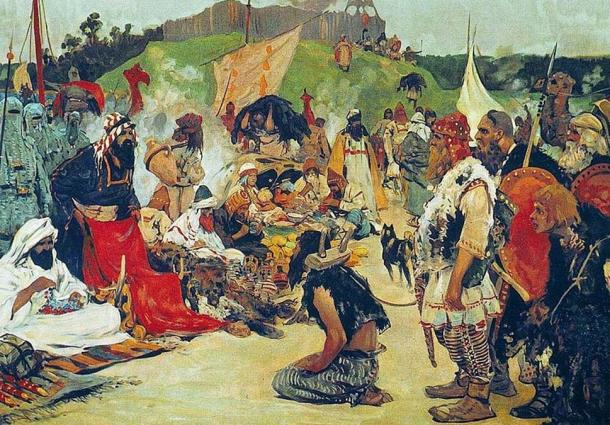 'Trade negotiations in the country of Eastern Slavs.' (1909) By Sergei Vasilyevich Ivanov.