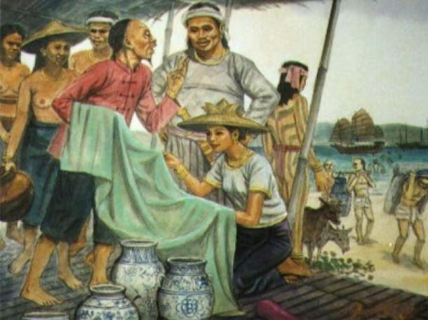 Trading at Port of Sugbu, circa 1521 modern day Cebu, Philippines by Manuel Pañares. Chinese, Anamese, Cambodian, Europeans and Arabs entered and traded at the Cebu Port. Gold, cotton, and slaves were bartered in exchange of silk, porcelain, beads, and other metals. Traders paid tribute to the King of Cebu. (Liane777/CC BY SA 4.0)