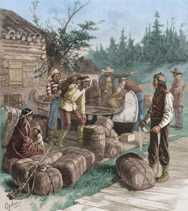 Trading at a Hudson's Bay Company trading post. (Public Domain)