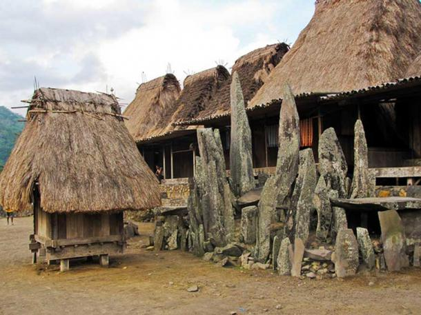 Traditional village with unusual rock altar. Flores
