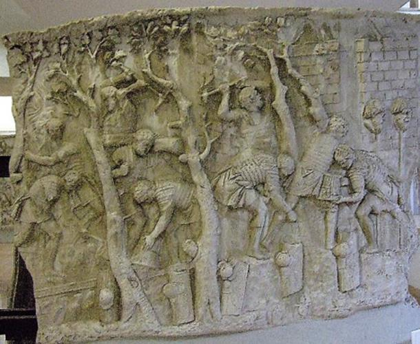 Scene on Trajan's Column showing Romans felling trees for road construction.
