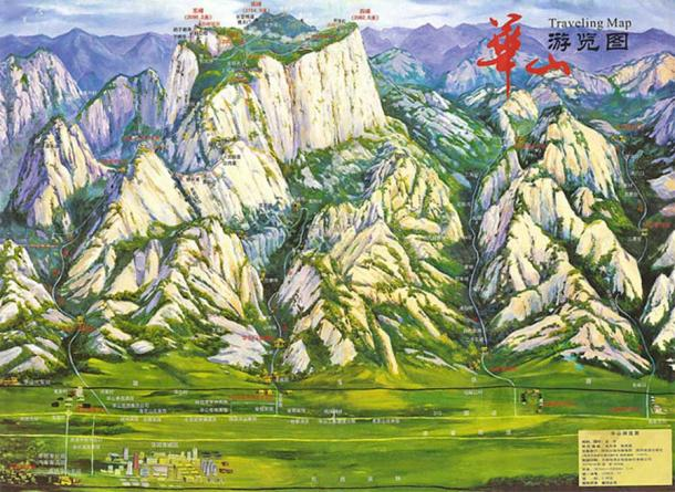 Travel map of Huashan mountain in China.