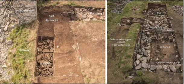 Left: Trench 2, excavation at the sea gate. Right: Trench 1, excavation of building B showing where the clan Campbell seal matrix was found. (Darko Maricevic ̌ / Antiquity Publications Ltd)