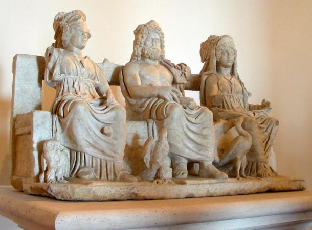 """Sculpture group with """"Triad Capitoline"""" Jupiter, Juno, and Minerva, from a roman villa in Guidonia"""