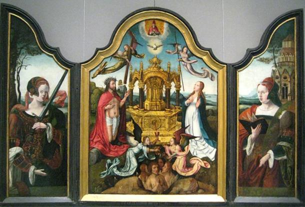The New Testament Trinity with a mystical source of life-giving blood of Christ, St. Catherine (left), St. Barbara (right).