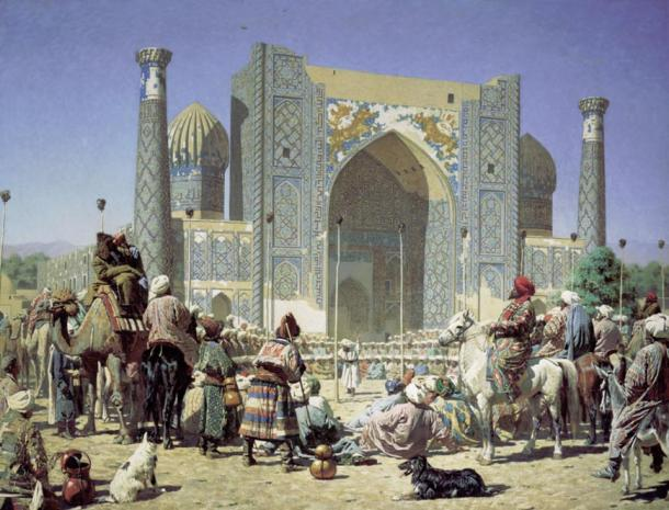 Triumph by Vasily Vereshchagin, depicting the Sher-Dor Madrasah in the Registan.