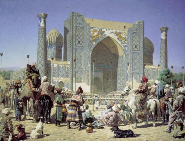 Triumph by Vasily Vereshchagin, depicting the Sher-Dor Madrasah in the Registan.