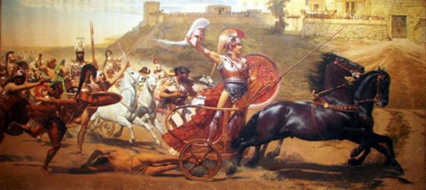 Triumphant Achilles dragging the dead body of Hector in front of the gates of Troy. Hector did not value the omen Zeus sent by the birds. (Dr.K. / Public Domain)