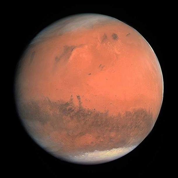 True color image of Mars taken by the OSIRIS instrument on the ESA Rosetta spacecraft during its February 2007 flyby of the planet. The image was generated using the OSIRIS orange (red), green, and blue filters. (ESA - European Space Agency & Max-Planck Institute for Solar System Research for OSIRIS Team/CC BY SA 3.0)